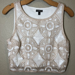 Express Lace & Sequin detailed crop top Size small